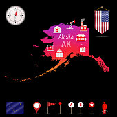 Alaska Vector Map, Night View. Compass Icon, Map Navigation Elements. Pennant Flag of the United States. Vector Flag of Alaska. Various Industries, Economic Geography Icons.