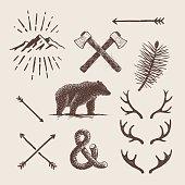 Block print illustrations about Alaska