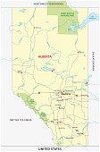 alberta road and national park vector map