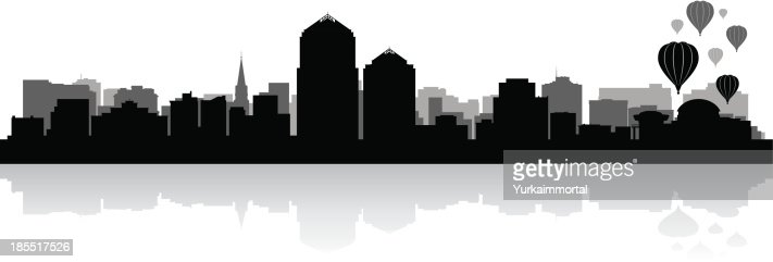 Albuquerque New Mexico City Skyline Silhouette Vector Art
