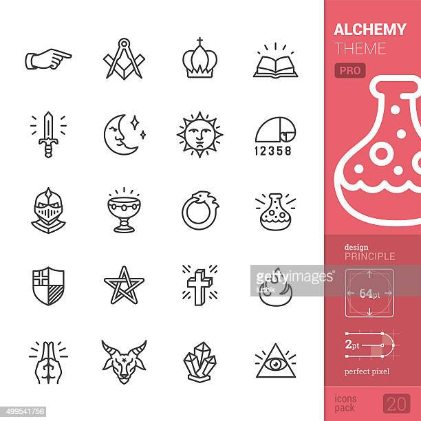 Alchemy and Middle Ages related vector icons - PRO pack