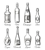 Alcohol bottles in hand drawn style. Alcoholic beverage bottles vector sketches
