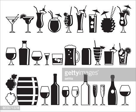 Alcohol drink icons : stock vector