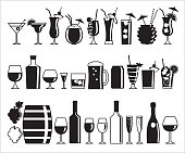 Set of thirty-one alcohol drink icons in black and white.
