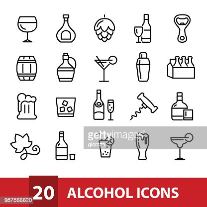 alcohol vector icons collection : stock vector