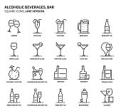 Alcoholic beverages, square icon set. The illustrations are a vector, editable stroke, thirty-two by thirty-two matrix grid, pixel perfect files. Crafted with precision and eye for quality.