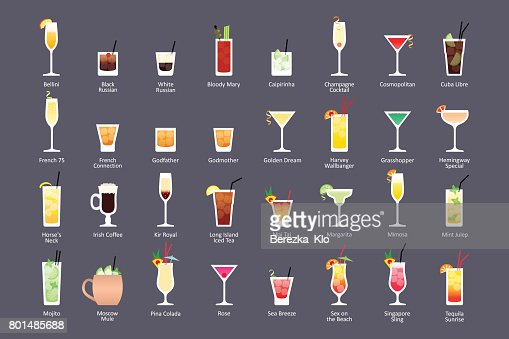 Alcoholic cocktails, IBA official cocktails Contemporary Classics. Icons set in flat style on dark background : stock vector