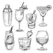 Alcoholic cocktails sketch. Various short mixed drinks of gin, whiskey, rum, vodka, brandy, with different fruit mixtures. Vector illustration