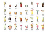 Alcoholic cocktails with titles. IBA official cocktails, Contemporary Classics. Icons set in flat style on white background