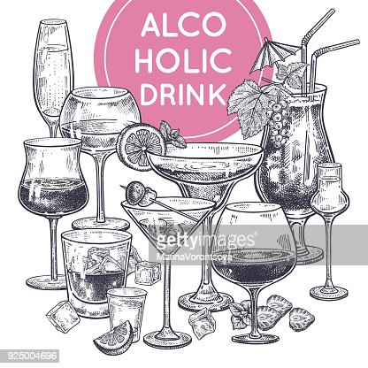 Alcoholic drinks poster. : stock vector