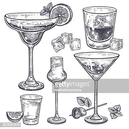 Ensemble de boissons alcoolisées. : Clipart vectoriel