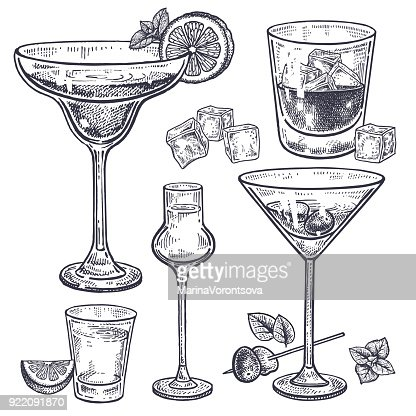 Alcoholic drinks set. : Vector Art