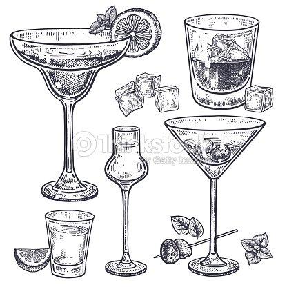 Conjunto de bebidas alcohólicas. : arte vectorial