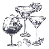 Alcoholic drinks set. Margarita, brandy and liquor in wineglass, ice, cherries, mint, lemon. Isolated on white background. Black and white vintage engraving. Hand drawing. Vector illustration art.