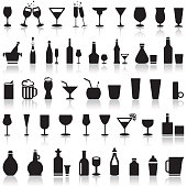 Alcoholic icons on a white background with a shadow