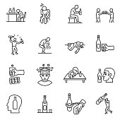 Alcoholism, drunkenness icons set. Hangover. alcohol intoxication, thin line design. Illustration of drunk people, linear symbols collection. isolated vector illustration.