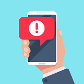 Alert message mobile notification. Danger error alerts, smartphone virus problem or insecure messaging spam problems notifications on phone screen, spammer alertness flat vector illustration