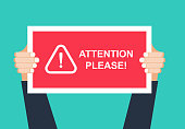 Alert signs vector.Attention please concept vector illustration of important announcement. Flat human hands hold caution red sign and banners to pay attention and be careful on