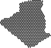 Algeria map abstract schematic from black triangles repeating pattern geometric background with nodes. Vector illustration.