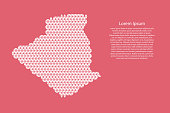 Algeria map abstract schematic from white  triangles repeating pattern geometric on pink coral color  background with nodes for banner, poster, greeting card. Vector illustration.