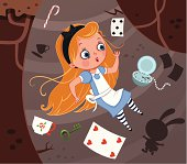 Alice is falling down into the rabbit with some items.
