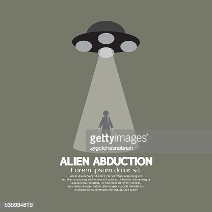 Alien Abduction With UFO Spaceship : Vector Art