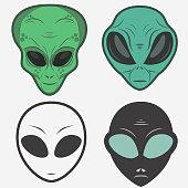 Alien face icon set, humanoid head outline, futuristic space invader, paranormal fantasy emblem vector illustration
