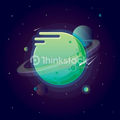 alien solar system planets in vivid bright colors vector art