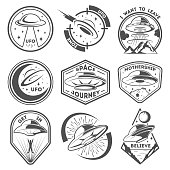 Alien spaceship, spacecrafts and ufo emblems set. Cosmic ship in form saucer for transportation. Monochrome UFO badges vector set