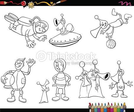 Página Para Colorear De Historieta Aliens Arte vectorial | Thinkstock