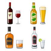 Illustrationen visar fyra flaskor av olika sorters alkohol