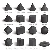 All basic 3d shapes template in dark. Realistic with shadow. Perfect for school, study, designers