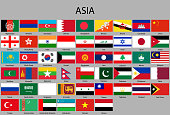 all flags of Asia. Vector Illustration