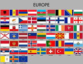 all flags of Europe. Vector Illustration