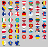 Round all flags of Europe