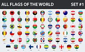 All flags of the world in alphabetical order. Round glossy style. Set 1 of 3