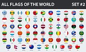 All flags of the world in alphabetical order. Round glossy style. Set 2 of 3