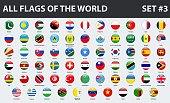 All flags of the world in alphabetical order. Round glossy style. Set 3 of 3