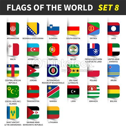 All Flags Of The World Set 8 Inserted And Floating Sticky