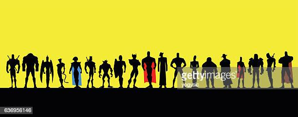 All Male Superheroes Silhouette