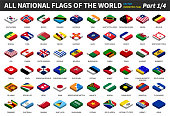All national flags of the world . isometric top design . Part 1 of 4 .