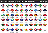 All national flags of the world . isometric top design . Part 2 of 4 .