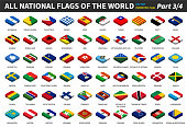 All national flags of the world . isometric top design . Part 3 of 4 .