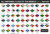 All national flags of the world . isometric top design . Part 4 of 4 ( complete ) .