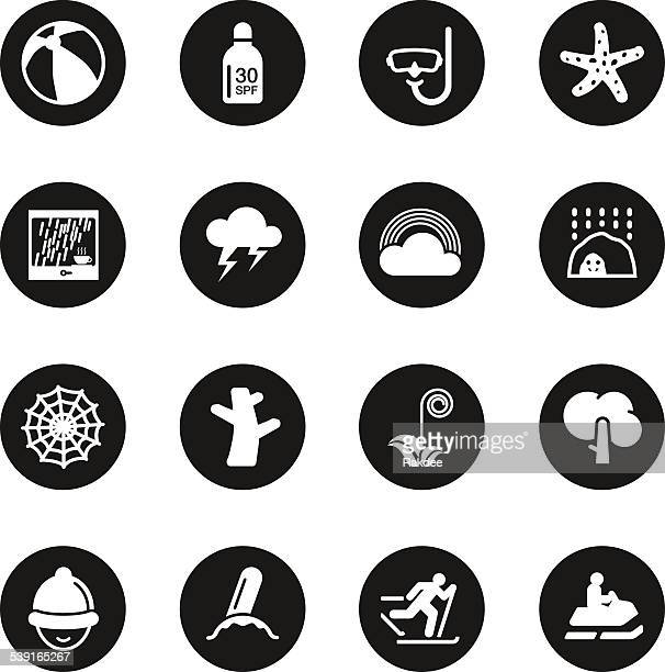 Conjunto de iconos de toda la temporada 3-Serie círculo negro