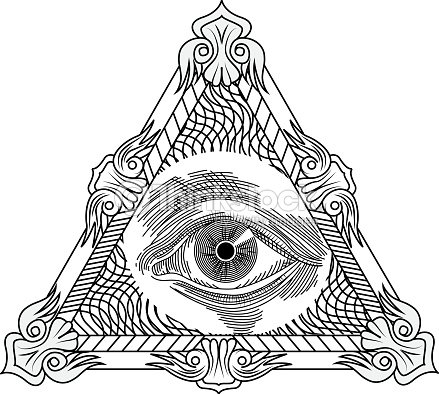All Seeing Eye Engraving Tattoo Style Vector Art