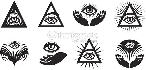 All Seeing Eye Icons Set Illuminati Symbol Vector Art Thinkstock