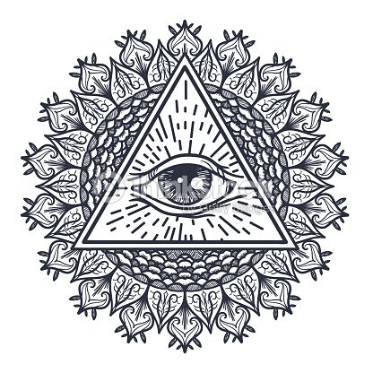 All Seeing Eye In Triangle And Mandal Vector Art