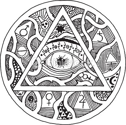 All Seeing Eye Pyramid Symbol In Tattoo Engraving Design Vector Art