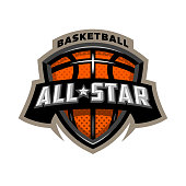 All star basketball, sports icon emblem. Vector illustration